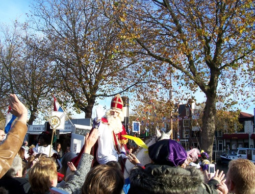 Sinterklaas on horseback being greeted on arrival in Vlaardingen (The Netherlands) in November 2006