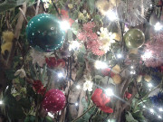 Flowers and Christmas lights decoration