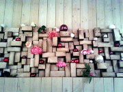 Stacked firewood Christmas decorations